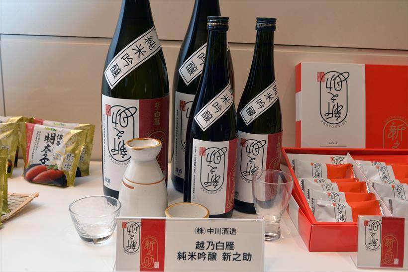 ↑越乃白雁 純米吟醸 新之助 1.8L:2580円/720ml:1280円。新之助100%で醸した、米の旨味をしっかりと感じられる純米吟醸酒です。11月25日から数量限定で発売予定