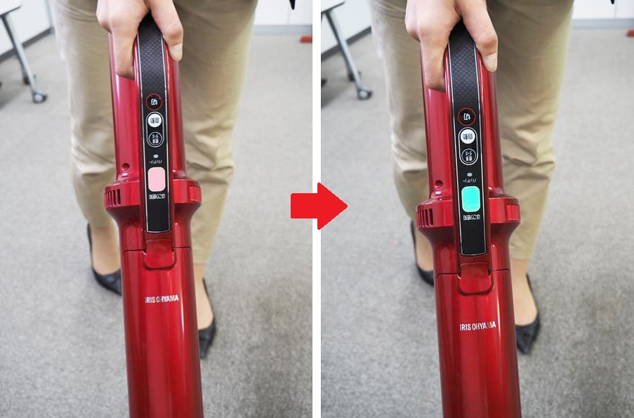 ↑ホコリ感知センサー搭載しており、吸い込んだゴミが少なくなるとランピが赤から緑に変わります