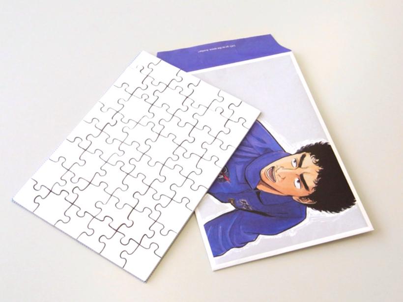 ↑実際に宇宙飛行士選抜試験でも使われた絵柄のない真っ白なジグソーパズルの48ピース版だ。第4巻では。宇宙飛行士選抜試験でムッタたちも挑んでいた