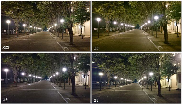 ↑夜景を4台のXperiaで撮影。Xperia XZ1はやや暖色が強めに撮れた。どのXperiaも夜景を明るく撮れる優秀なカメラ機能を搭載している