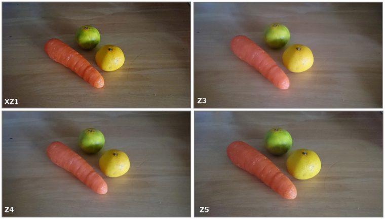 ↑昼間の室内で野菜を撮影。みかんやにんじんの皮のディティールは最新モデルのXZ1に近いジェネレーションほどしっかり残る