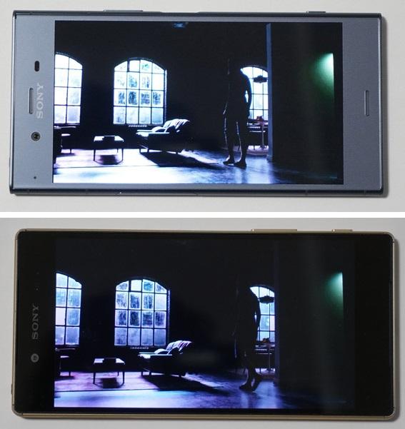 ↑Xperia XZ1(上)とZ5(下)でNetflixのHDRコンテンツを比較。明暗のディティールを再現できる力はHDR対応のXZ1の方が上手。色合いはZ5の方がマゼンタがやや強めに感じられた