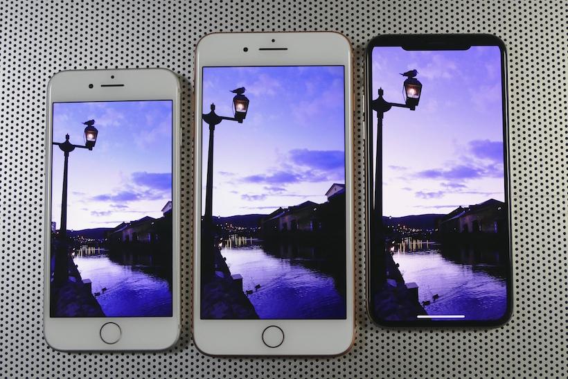 ↑左からiPhone 8、iPhone 8 Plus、iPhone X。画面はXが最も縦に長い