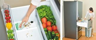 ↑野菜室の底に穴が空いていて、そこから野菜くずなどを捨てられます