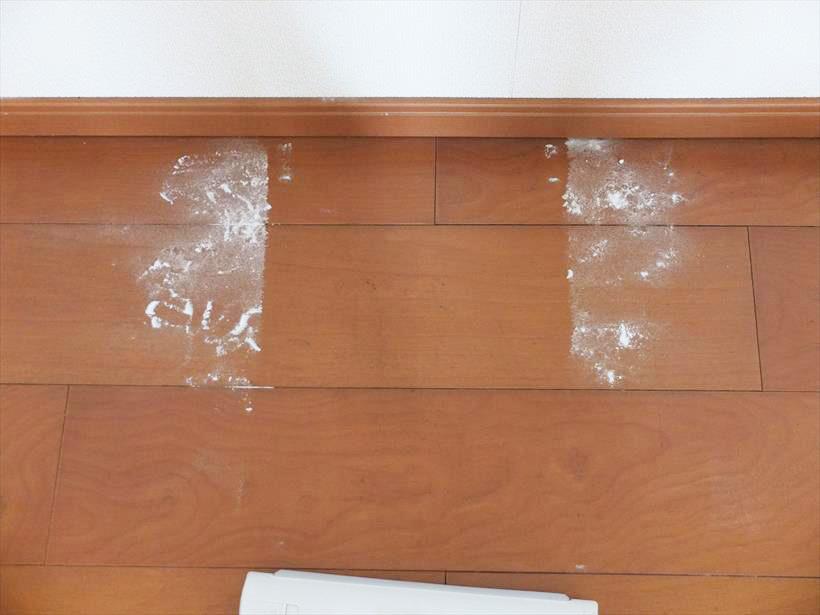 ↑壁際に溜まった重曹も、フローリングの目地に溜まった重曹も逃さず捕集できています。ヘッドが壁についたときの両端にわずかに重曹が残っていますが、ヘッド位置をずらしてもう一度掃除機がけすれば、完全に集じんできました