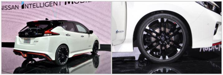 専用デザインをまとう「LEAF NISMO Concept」は、Cd値を維持しながらリフト量を低減し、空力向上を実現。専用サスペンションやタイヤなどに加えて、速度域を問わず瞬発力の高い加速フィールを引き出せる専用チューニングコンピューターも搭載する。