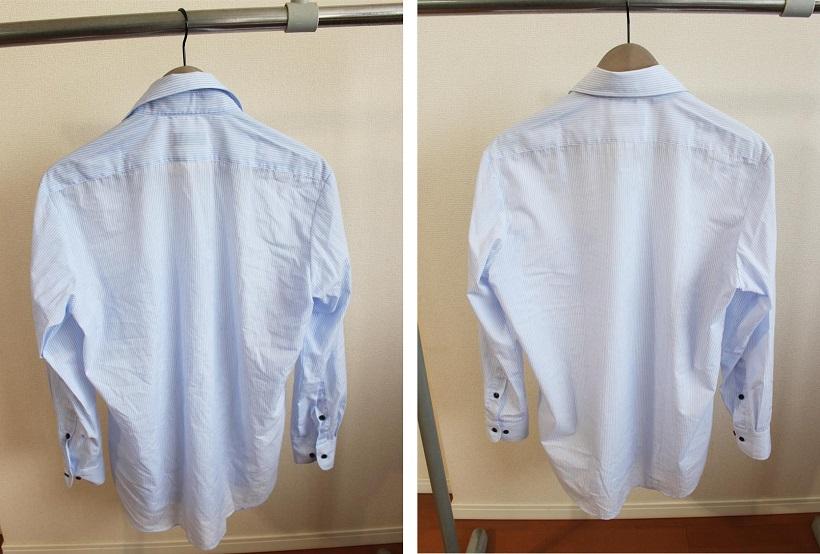 ↑上写真と同じシャツの裏。乾燥前は、形も崩れるほどにシワがついています(左)。乾燥後(右)との違いは一目瞭然!