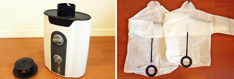 ↑まずはセット内容をチェック。温風を出す乾燥機本体(左)。ウインドブレーカーのような形の乾燥バッグが大小2枚付属しています(右)