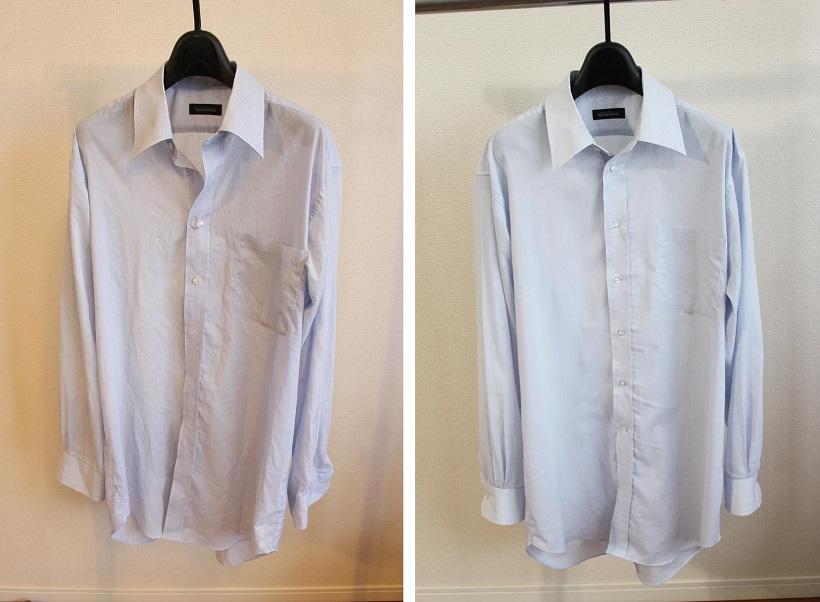 ↑全体的にシワが入り、よれっとしたワイシャツ(左)が乾燥前。乾燥後(右)は、そのまま乾かした場合に比べ、だいぶシワが少ない印象です