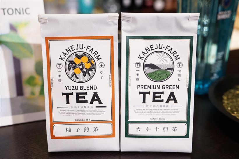 ↑「柚子煎茶」(左)と「カネ十茶葉」(右)