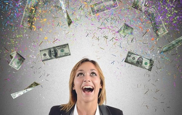 34708936 - happy businesswoman have earned lot of money