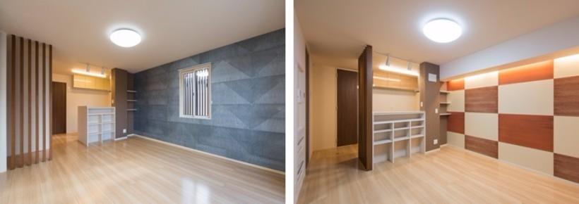 現代的なデザインで彩られた、和紙が貼られた壁が印象的。また、収納を効率良く配置することで空間を確保しています。間取り構成は3LDKが6世帯、2LDKが14世帯