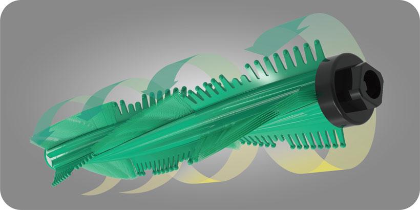 ↑新開発「フィンパンチブラシ」が、取りにくい髪の毛やペットの毛までしっかりキャッチ。弾力性・摩耗耐性に優れたラバー素材で、ふとんの生地を傷めにくくなっています