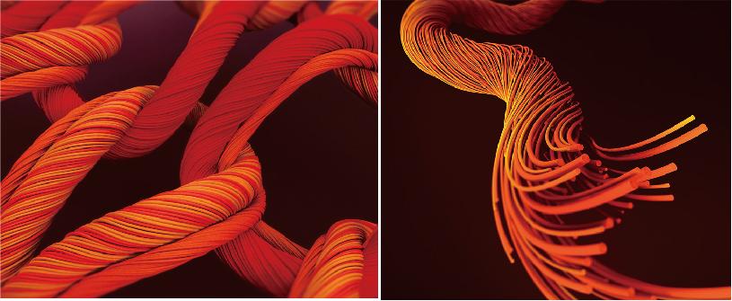 ↑発熱性、吸湿性をともに高めるため、レーヨン、マイクロアクリル、ポリウレタン、ポリエステルを複雑な構造で編み込む