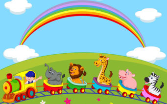 22637327 - animal train cartoon
