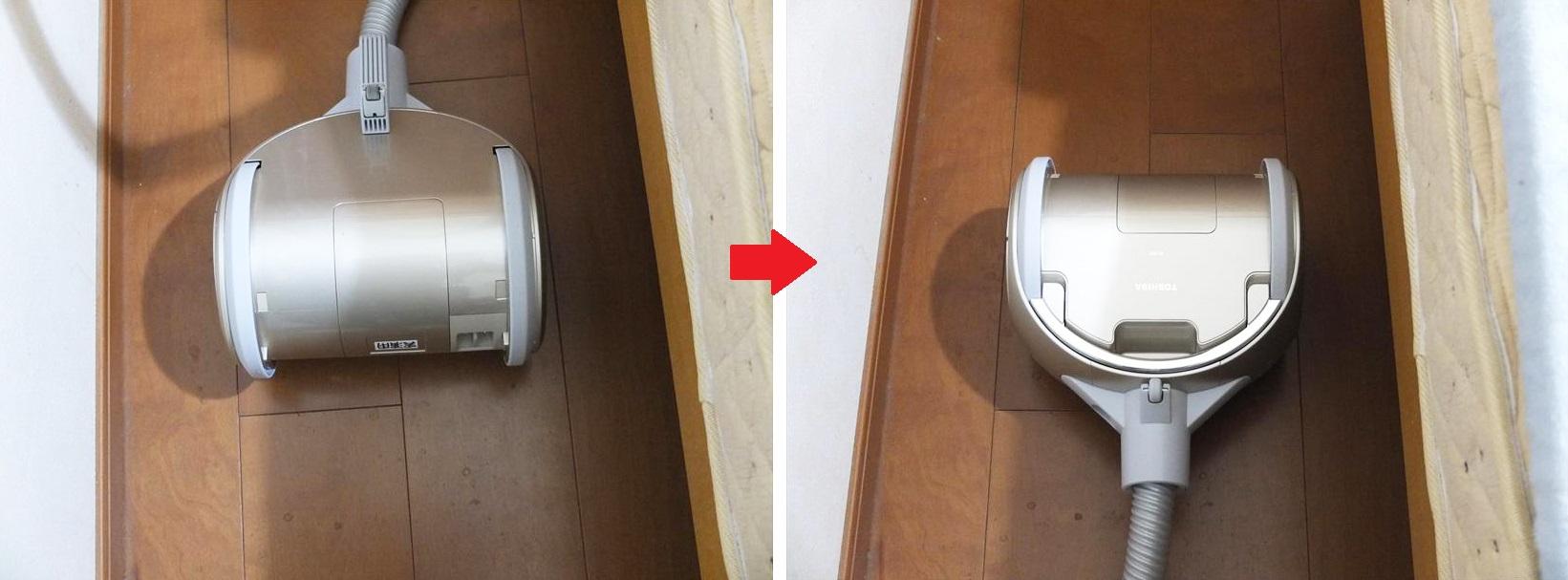 ↑ホースを持ち上げると、大型車輪の回転軸に沿って本体がぐるっと反転。そのまま逆方向に掃除を続けることができます。本体先端の補助輪も両側に付いています。