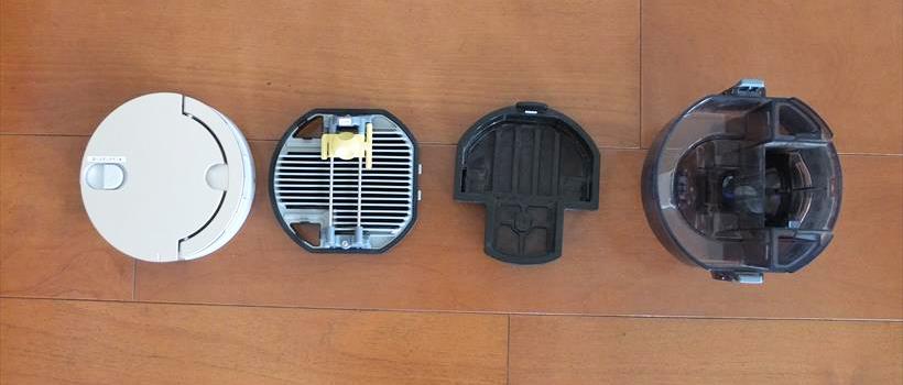 ↑写真左からカップカバー、プリーツフィルター、メッシュフィルター、ダストカップ