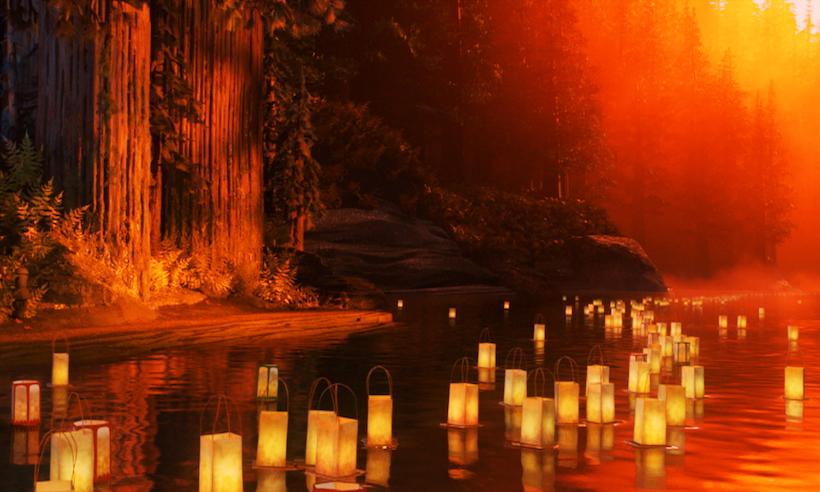 """↑舞台となっている中世日本の世界観は、江戸時代から続く伝統文化や、""""わびさび""""といった美意識を綿密にリサーチして作り上げていった。作中では、盆踊りや灯籠流しといった日本古来の風習が描かれている"""