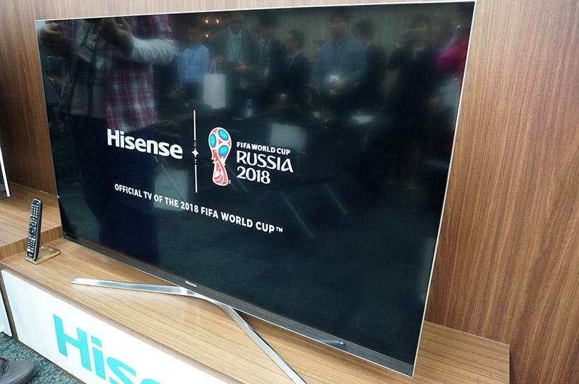 ↑起動時に表示される「FIFAワールドカップ ロシア大会」と「ハイセンス」のロゴ