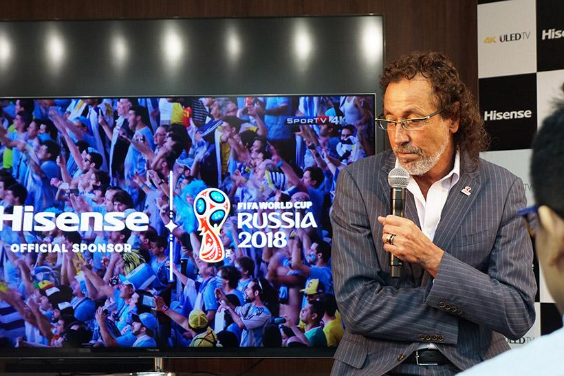 ↑ユーモアの中にもサッカーへの真摯な想いを語るラモス瑠偉氏