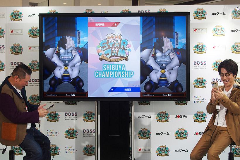 ↑西尾さんと淳さんによるエキジビジョンマッチ。近距離戦を得意とする田村さんのキャラクターがなかなか近づけず、西尾さんの圧勝