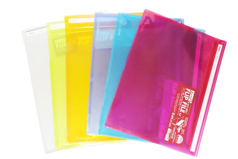 ↑セキセイ「Actif V フリップファイル」タテ型・ヨコ型 全6色 各216円
