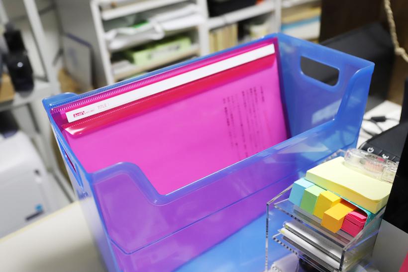 ↑ファイルボックスに放り込んでおけば自立するので、扱いやすい