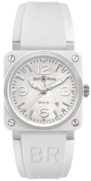 ↑ベル&ロス「BR 03-92 ホワイト セラミック」56万1600円/Ref.BR03-92WC-R/自動巻き/直径42mm