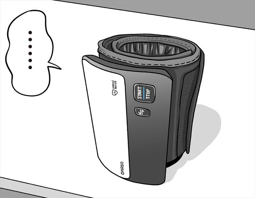 ↑「上腕式血圧計 HEM-7600T」。スマホとBluetoothで連携して、いつでも気軽に血圧を計測できます