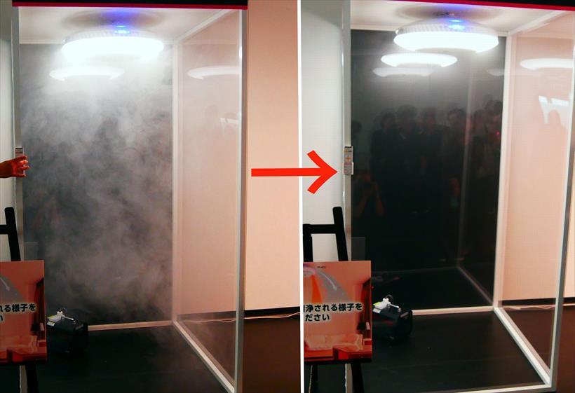 ↑左がスモークを焚いた直後。右が30秒後。空気がキレイになっているのがわかります