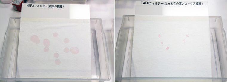 ↑水滴を垂らしてみると、HEPAはじわーっと広がるが、TAFUは水玉を弾いている