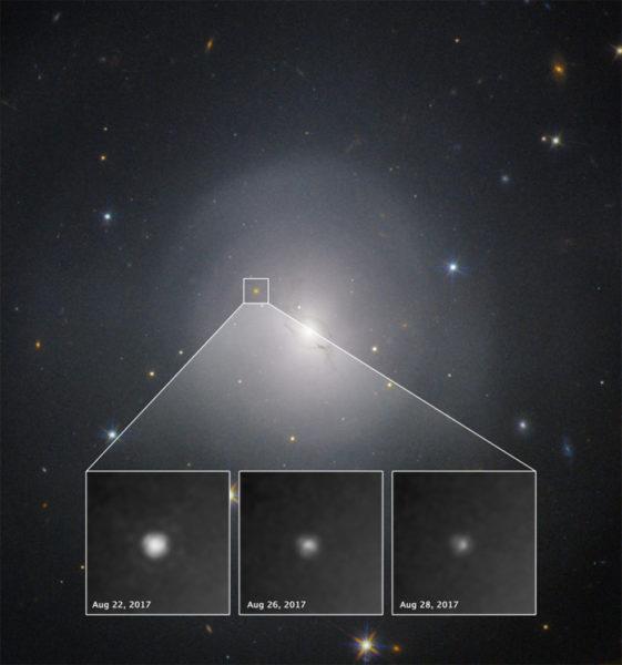 2017年8月17日に重力波が検出された。ハッブル望遠鏡がとらえたその衝突による残光。