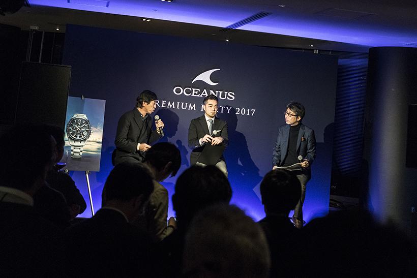 ↑イベント中盤では、OCEANUSが提案するWebスタイルマガジン「BLUE MOTIONS」編集長の長崎義紹氏(左)、時計ライターの篠田哲生氏(中央)、カシオ計算機 デザイン企画部の花形茂氏(右)の3名によるOCEANUS新作のトークセッションが行われた