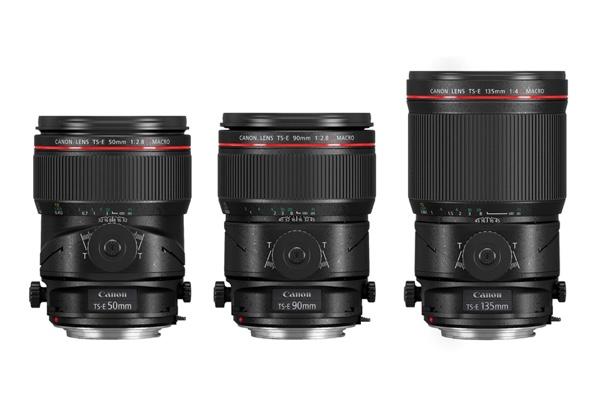 左から「TS-E50mm F2.8L マクロ」「TS-E90mm F2.8L マクロ」「TS-E135mm F4L マクロ」。3本とも最大撮影倍率は0.5倍で、マクロ撮影が可能。