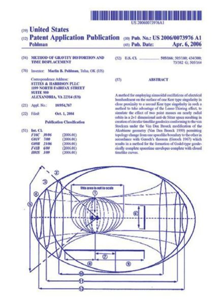 ジョン・タイターの話と資料を元に出願された、タイムマシンの特許書類。現代の技術では実現不可能な部分があるために却下された。