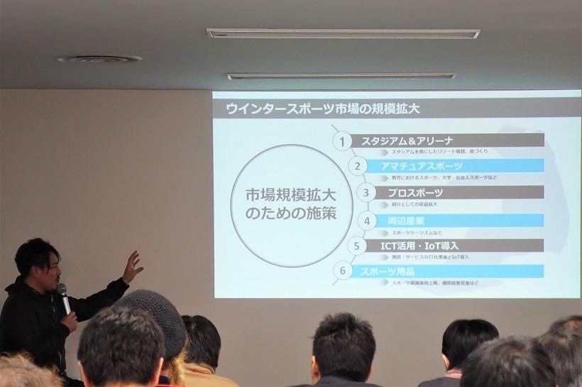 ↑第1部では、皆川氏がテクノロジーによって解決できるスノー産業の3つの課題を説明した
