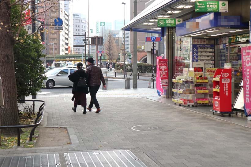 ↑旧萬世橋駅は秋葉原の中央通りの下にあった(写真の通気孔あたり)。後方に神田川にかかる万世橋とJR中央線の陸橋が見える