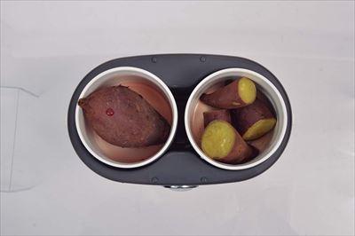 ↑ふかし芋や温野菜を作る蒸し器としても活用可能。ゆで卵などの調理もできます