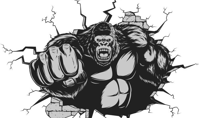 44196630 - vector illustration, ferocious gorilla hit the wall with his fist