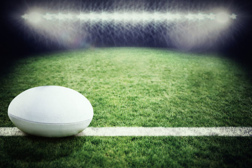 45484531 - rugby ball against rugby pitch