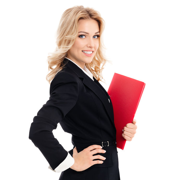 53604480 - portrait of young happy smiling businesswoman with red folder, isolated against white background