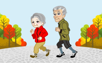 32364336 - running senior couple in the autumn park