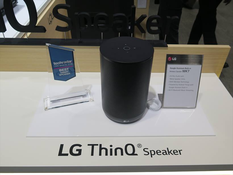 ↑Googleアシスタントを内蔵するスマートスピーカー「LG ThinQ Speaker」も発売予定