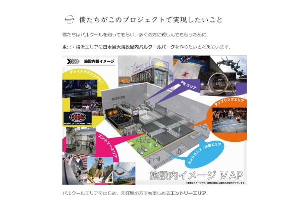 出典画像:「東京・横浜エリアに子供から大人まで楽しめる国内最大級パルクールパークを作りたい!」CAMPFIRE より