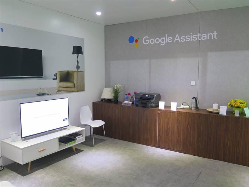↑中国の新興メーカーのブースでも、Googleアシスタントを用いたスマート家電を展示
