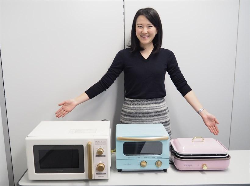 ↑電子レンジ IMB-RT17(写真左)は1万3800円、オーブントースター EOT-R1001(写真中)は5980円、ミニホットプレート MHP-R102(右)の参考価格は7480円