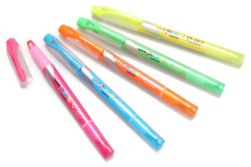 ↑三菱鉛筆「プロパス・ウインドウ クイックドライ」全10色 各140円