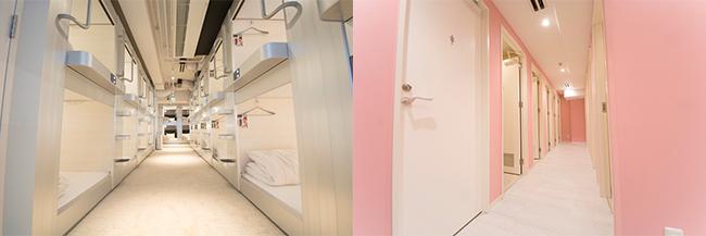 左:明るくクリーンなユニットルーム。右:シャワールームのエリアもピンクと白