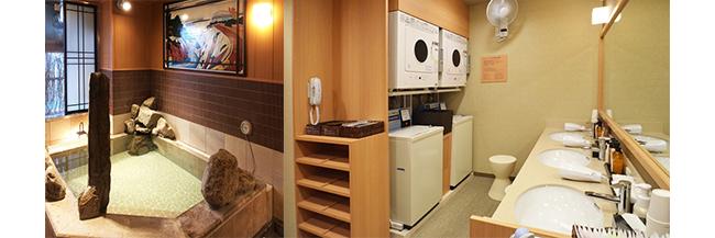 左:日々の疲れを癒せる大浴場。右:コインランドリー付きのパウダールーム