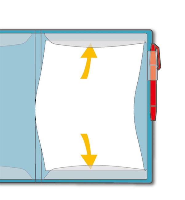 ↑書類は上下についたフラップで挟まれる仕組みになっている